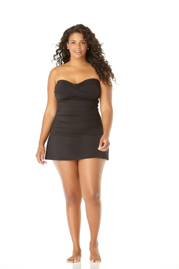Anne Cole® Live in Color Shirred Tankini Swimsuit Top - Black - Front