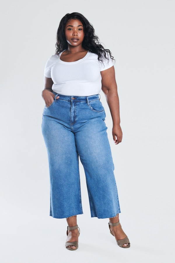 Denim Wide Leg Crop Pants - Medium stone - Front