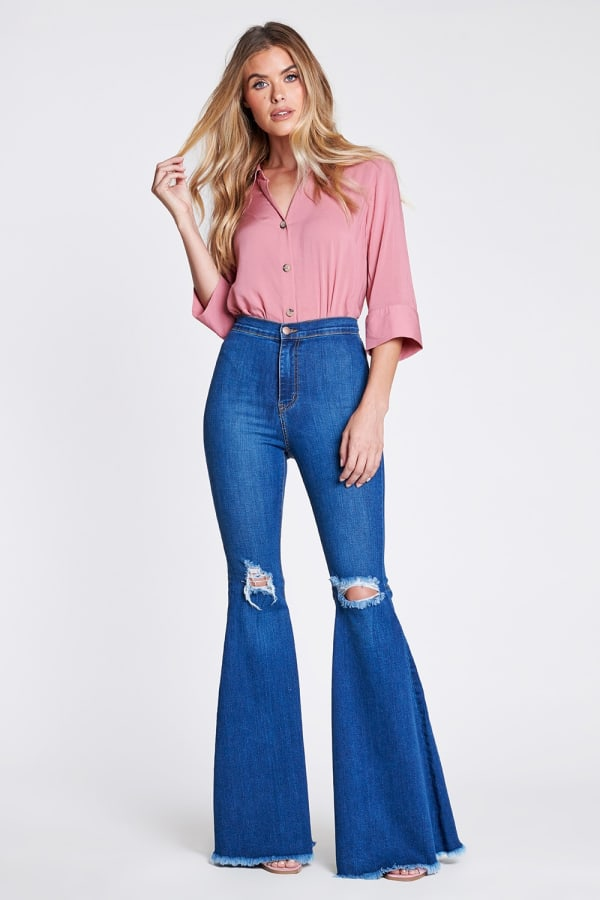 Knee-ripped Flare Jeans - Medium stone - Front