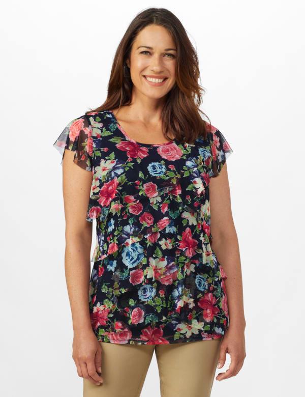 Westport Floral Tier Knit Top - Navy - Front