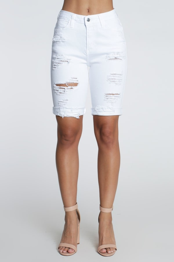 Distressed Boyfriend Bermuda Shorts - White - Front