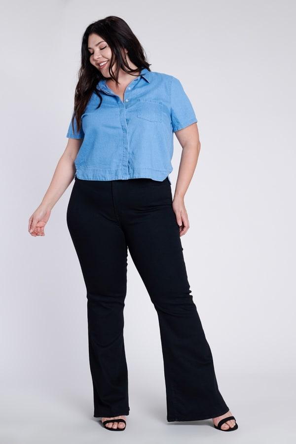 Plus Size Black Flare Jeans - Black - Front