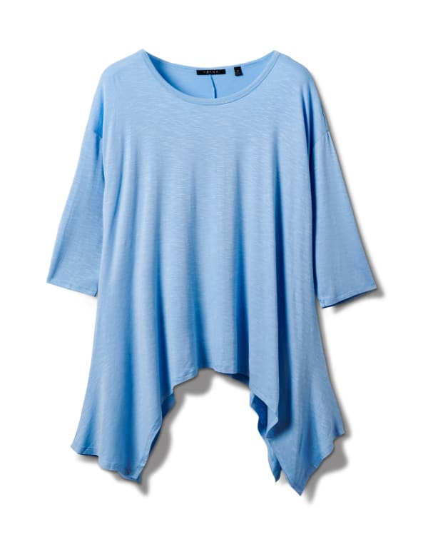 Texture Shark Bite Hem Knit Tunic - Plus - Blue - Front