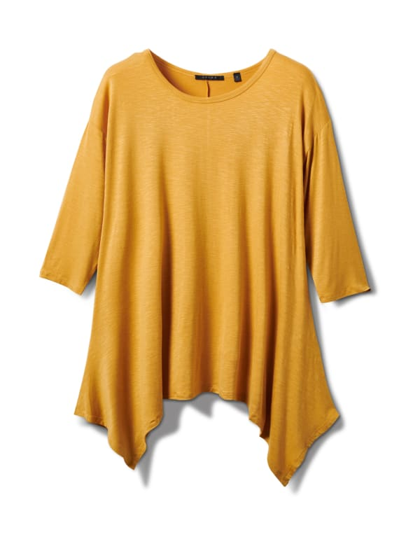 Texture Shark Bite Hem Knit Tunic - Plus - Mustard - Front