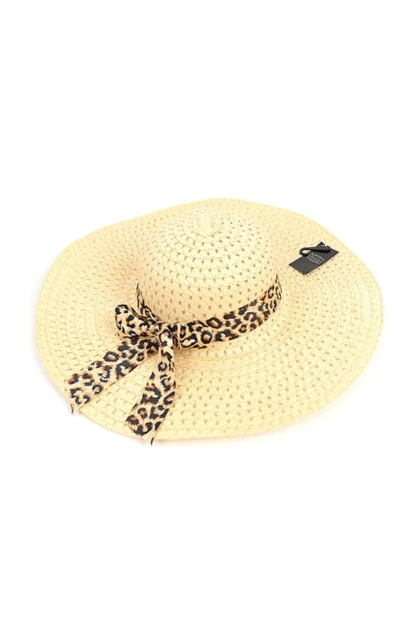 Brim Floppy Hat W/ Leopard Bow - Beige - Front