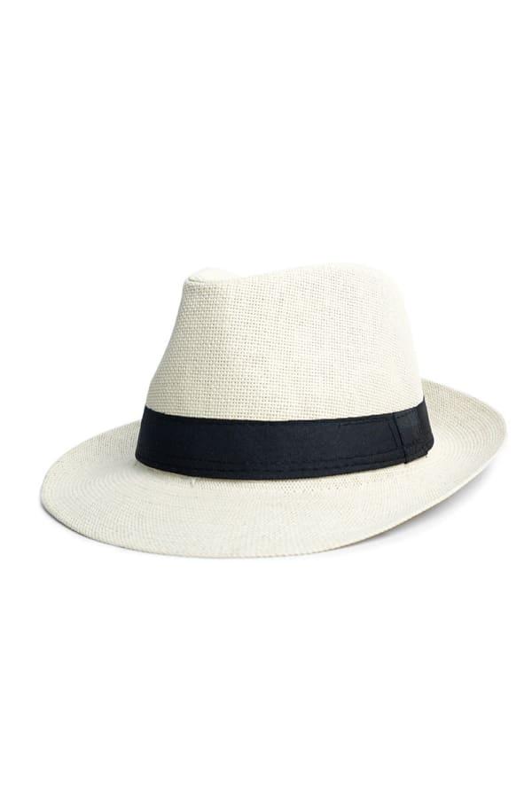 Spring/ Summer Wide Brim Panama Hat - Beige - Front