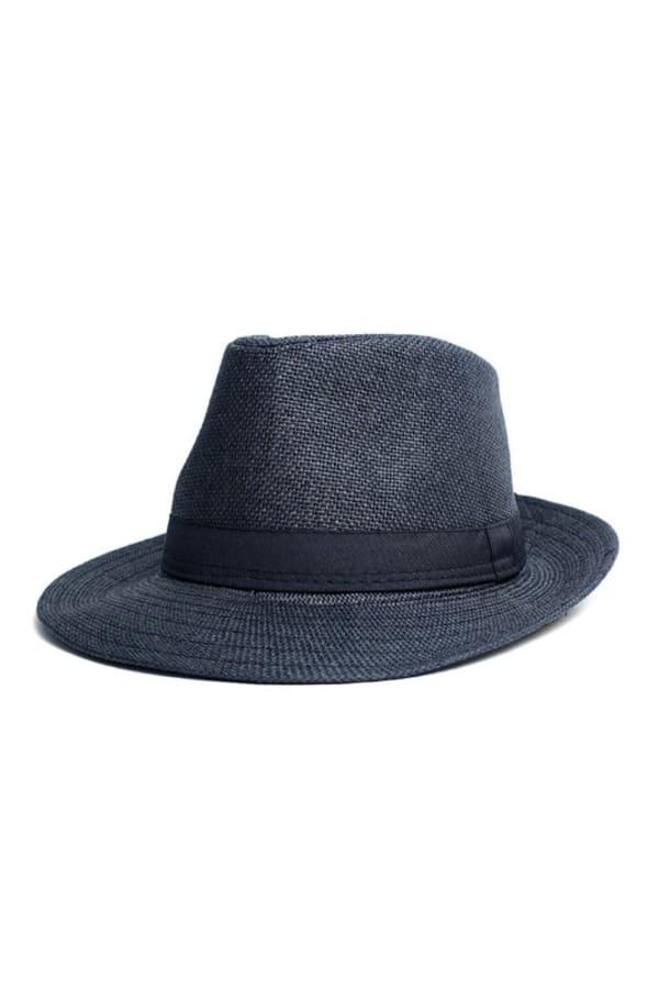 Spring/ Summer Wide Brim Panama Hat - Black - Front