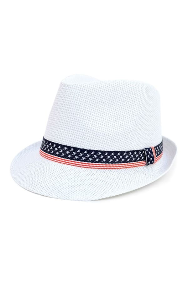 White Ft American Flag Trilby Fedora Hat - One Color - Front