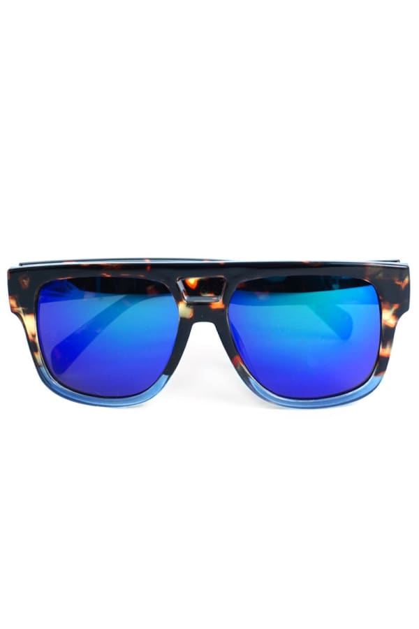 Fashionable Mirrored Sunglasses - Black - Front