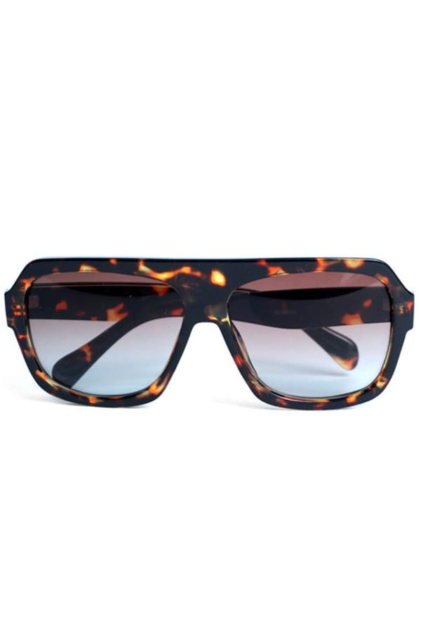 Brown Tortoise Rectangular Sunglasses - Brown - Front