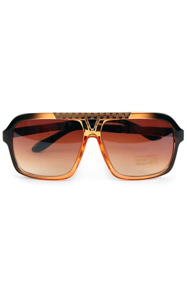 Brown Rectangular Sunglasses - Brown - Front