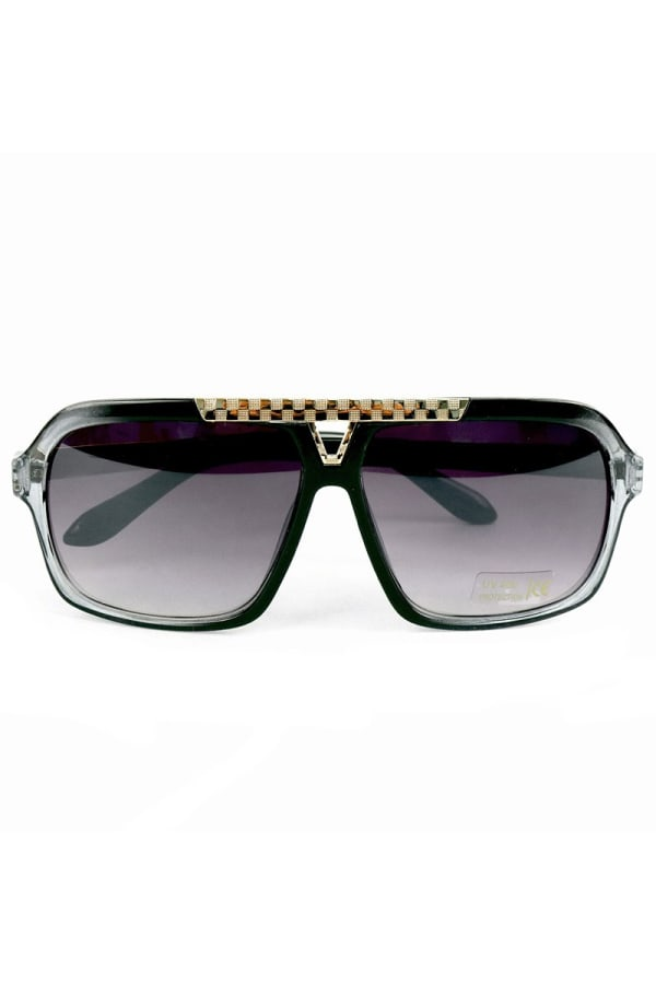 Black Rectangular Sunglasses - Black - Front