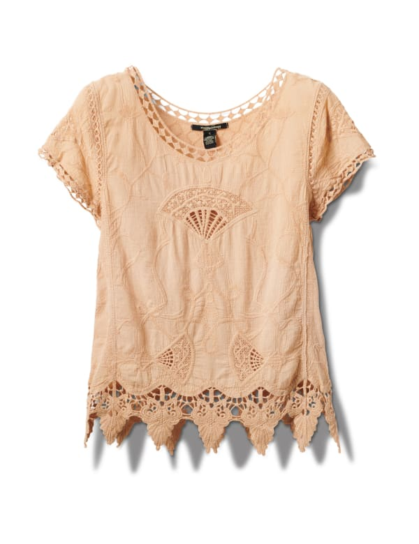Embroidered Crochet Trim Blouse