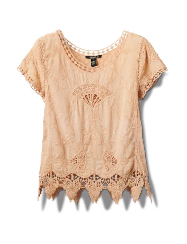 Embroidered Crochet Trim Blouse - Safari Tan - Front