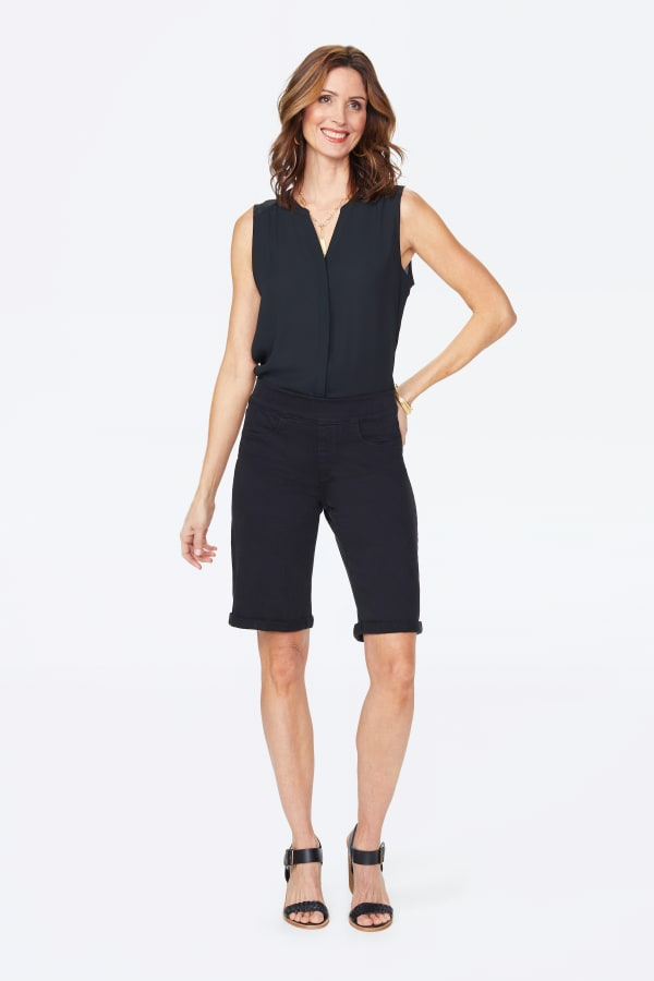 NYDJ Pull On Shorts with Rolled Cuff - Black - Front