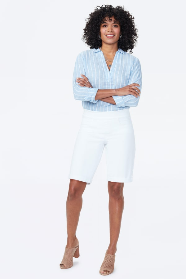 NYDJ Pull On Shorts with Rolled Cuff - Optic White - Front