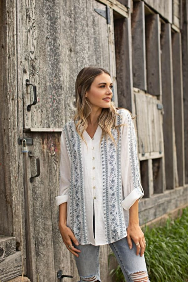 Printed Floral Button Front Woven Shirt - Ivory/Blue - Front
