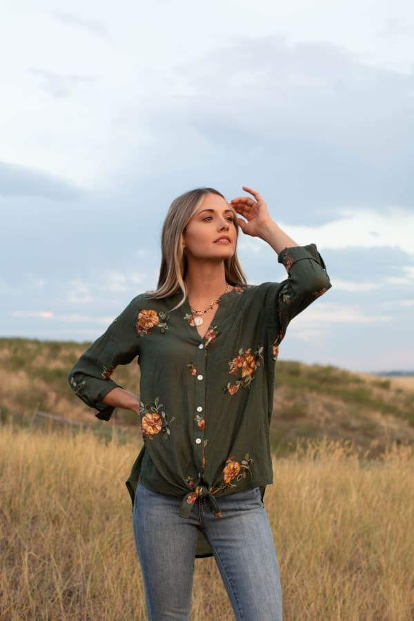 Olive Embroidered Button Front Woven Blouse -Olive - Front