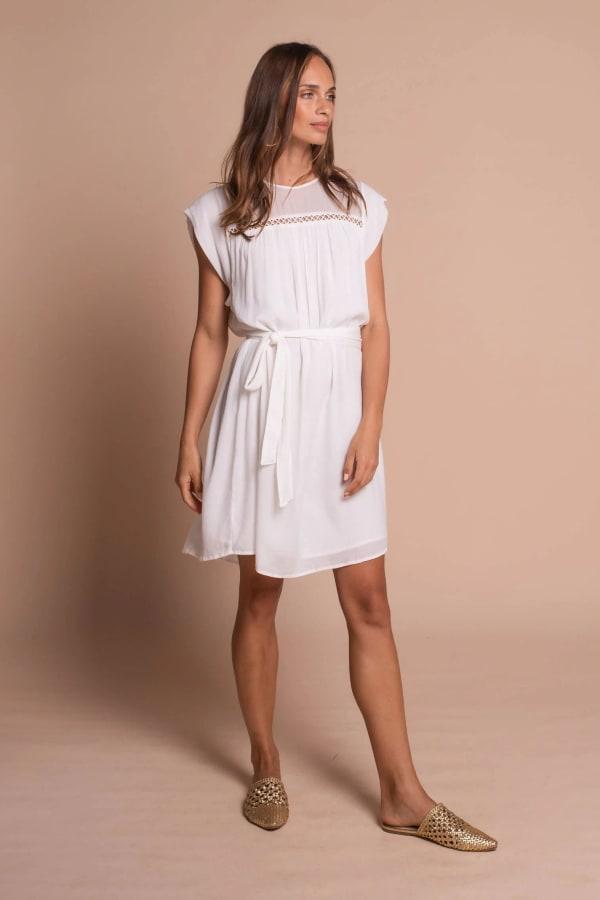 Amber Short Sleeve Sundress Dress - Off white - Front