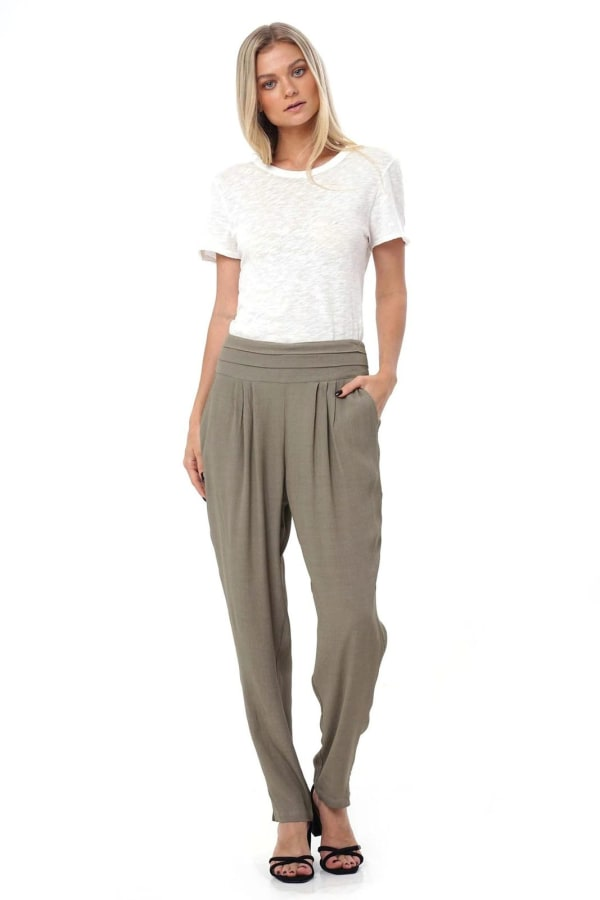 Aquerella Relaxed Fit With Pockets Pants - Olive - Front