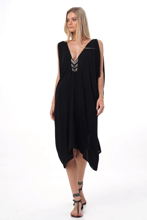 Iluh V-Neck Kaftan Dress - Black - Front