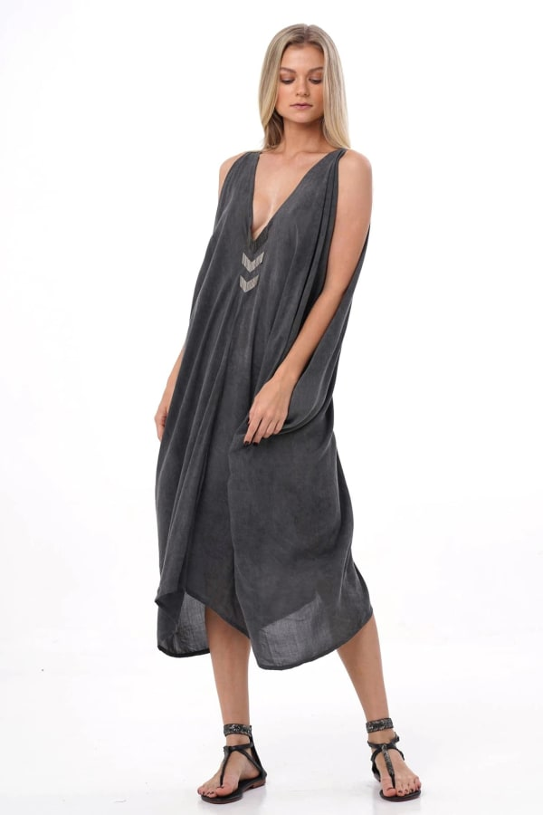 Iluh V-Neck Kaftan Dress - Charcoal - Front