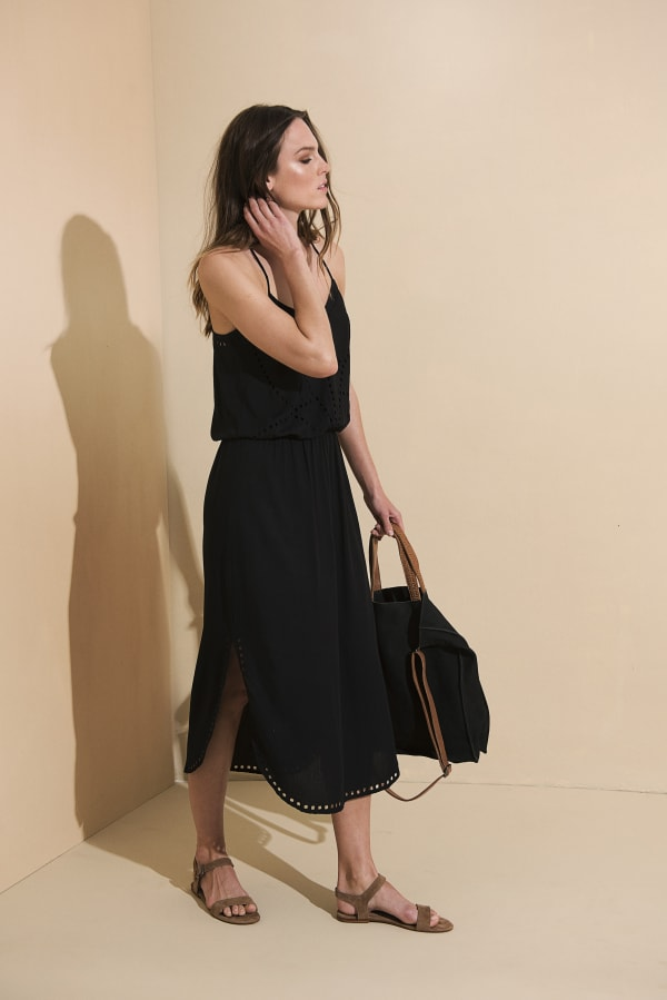 Lisa Midi Spaghetti-Strap Dress - Black - Front