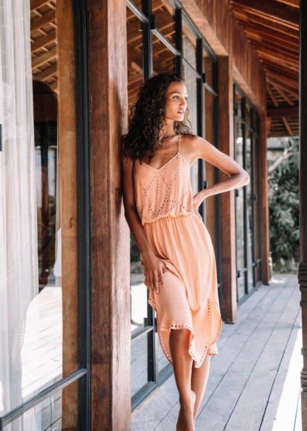 Lisa Midi Spaghetti-Strap Dress
