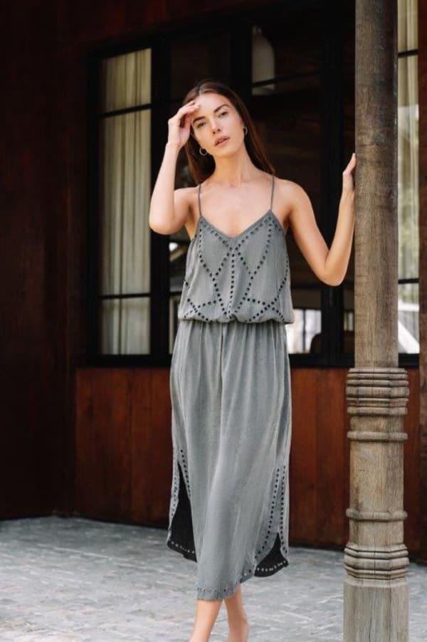 Lisa Midi Spaghetti-Strap Dress - Charcoal - Front
