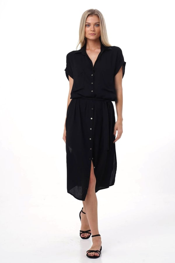 Uma Shirt Maxi Dress -Black - Front