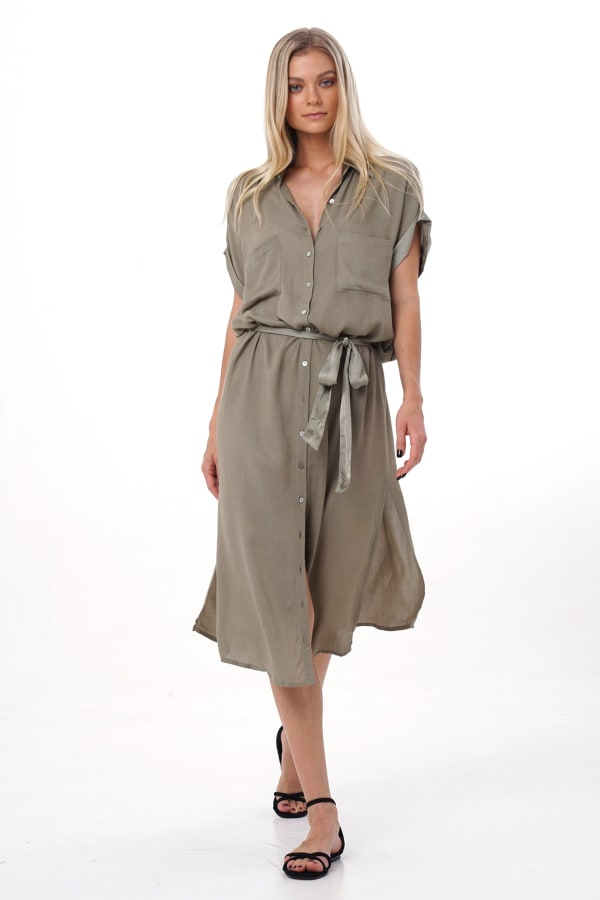 Uma Shirt Maxi Dress - Olive - Front