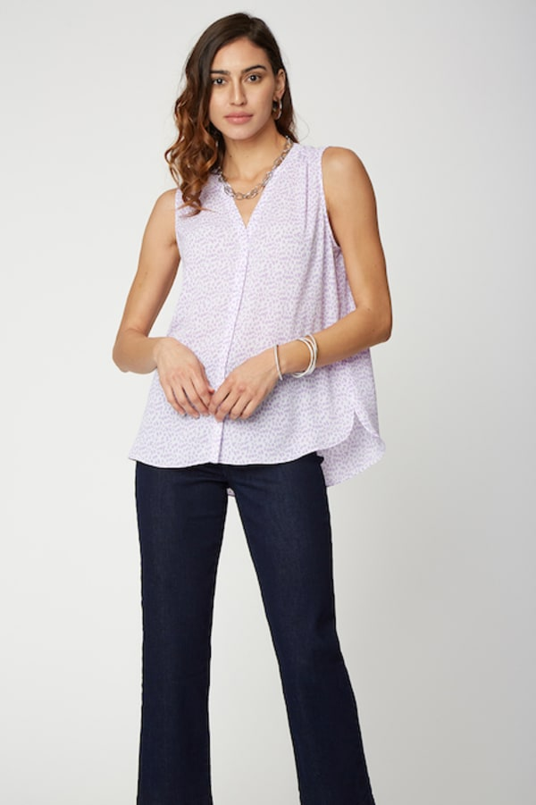 NYDJ Sleeveless Pintuck Blouse - Misses - LILAC CAT - Front