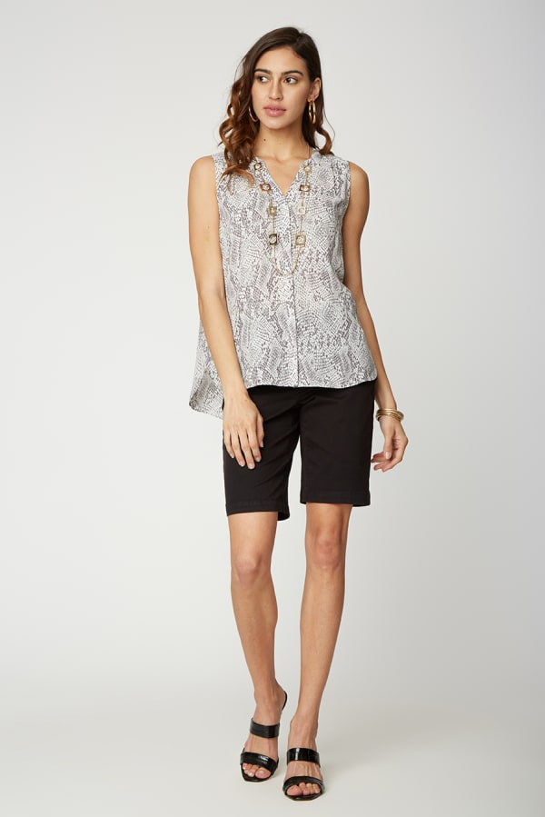 NYDJ Sleeveless Pintuck Blouse - Misses - SILVER SNAKE - Front