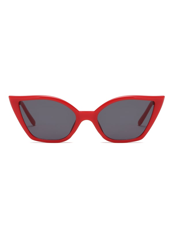 Retro Vintage Cat-eye sunglasses - Red - Front