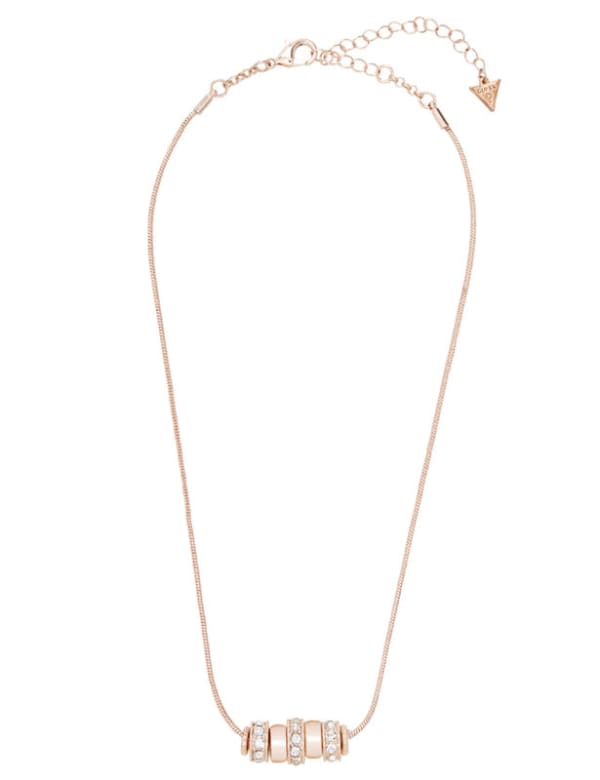 Ring Charm Drop Necklace - Rose Gold - Front