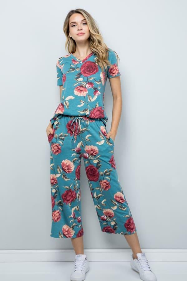 Floral Wide-Leg Cropped Pants - Mint - Front