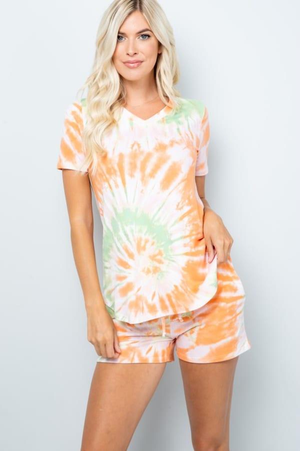Vibrant Tie Dye Print Shorts - Orange - Front