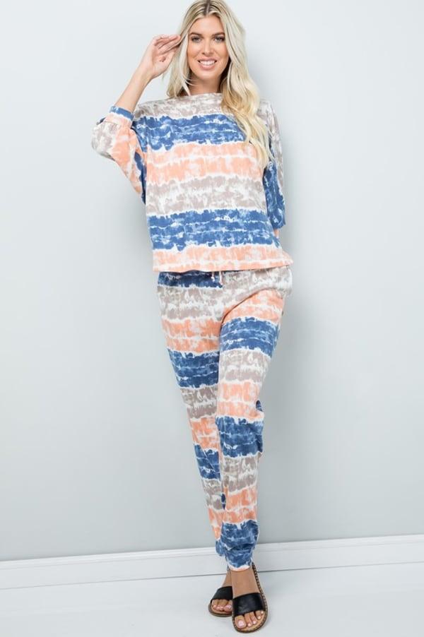 Tie Dye Pants W/ Pocket - Ink blue - Front