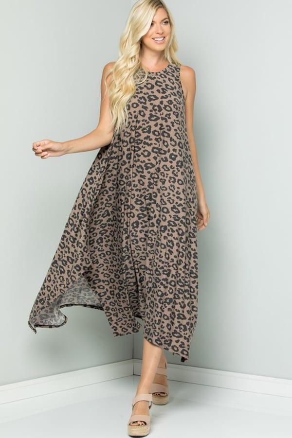 Leopard Tank Dress W/ Handkerchief Hem