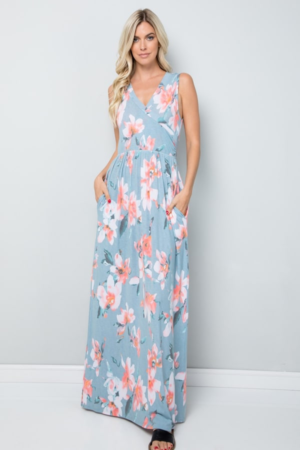 Floral Print Maxi Dress - Blue - Front