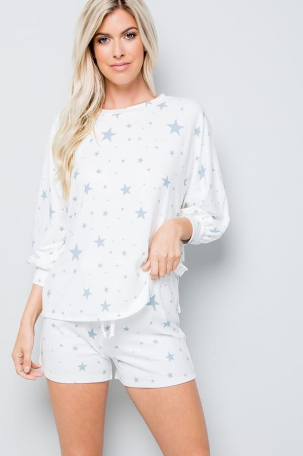 Star Print Top - Blue - Front