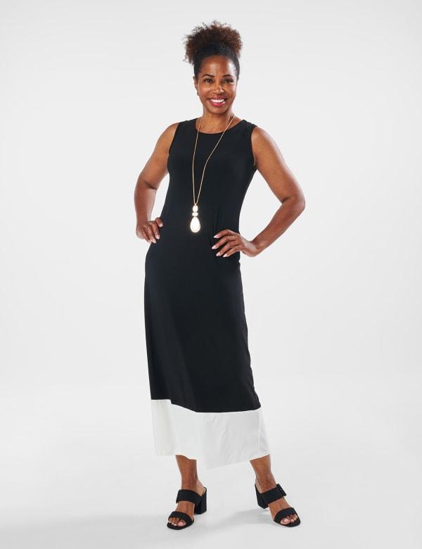 Color Block Maxi Dress - Black / White - Front