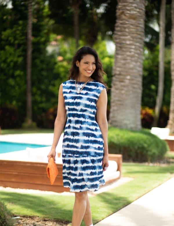 Marina Tie Dye Print Dress - Blue/White - Front