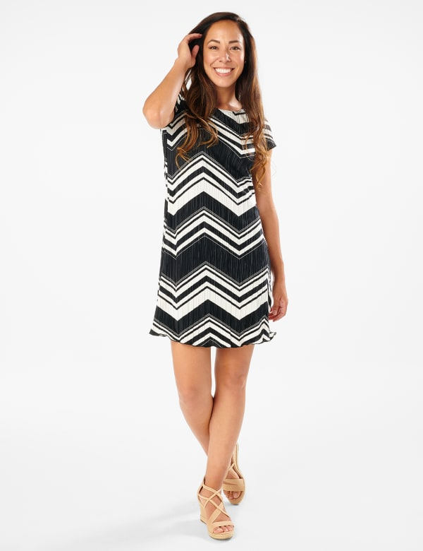 Chevron Knit Dress - Black/White - Front