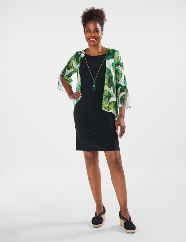Leaf Print Jacket Dress - Green Multi - Front