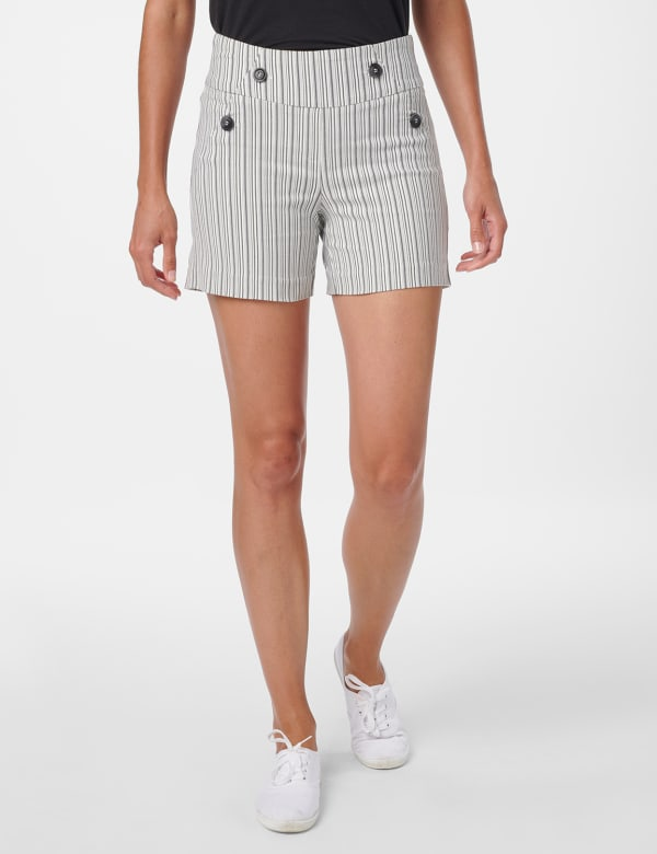 Sailor Short with Button Detail - Black/White - Front