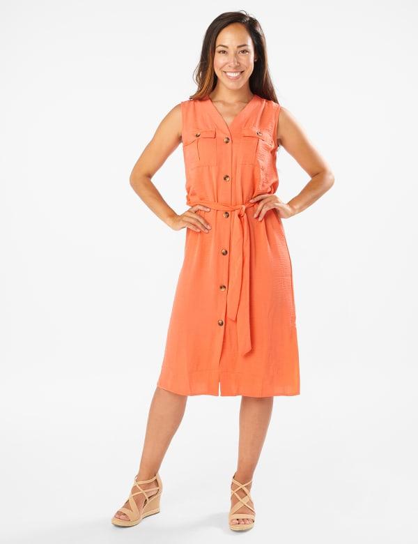 Button Front Shirt Dress - Ember Glow - Front