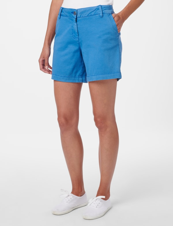 Fly Front Slant Pocket Shorts -Ocean Blue - Front