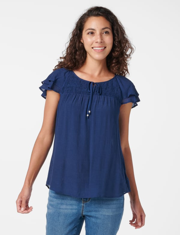 Textured Smock Neck Woven Peasant Top