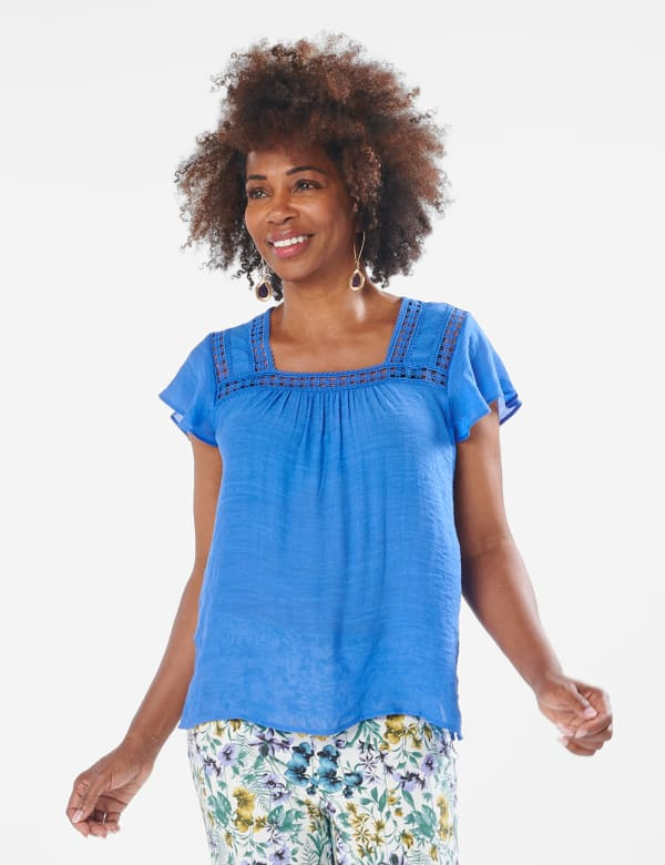 Crochet Trim Square Neck Textured Woven Top -Hydrangea Blue - Front